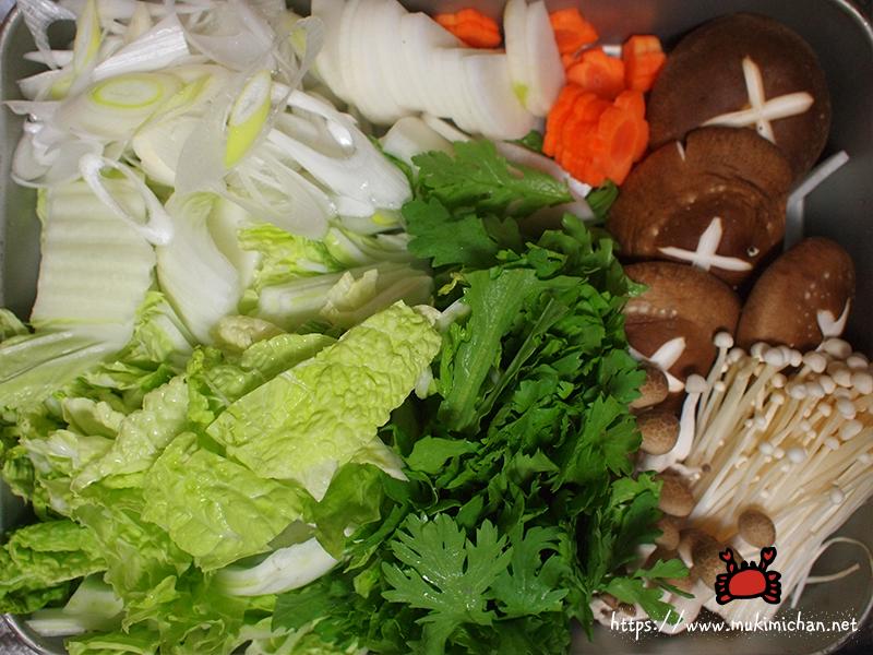 かに鍋に入れる野菜